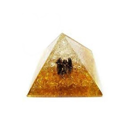 pirâmide orgonite citrino e quartzo – 4 x 4